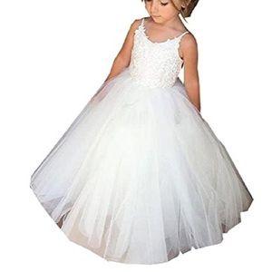 Girls White flower girl long dress